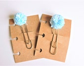 Handmade Blue and White Pom-pom Baker's Twine Jumbo Silver or Gold Planner Clip - Disc Bound Planner Accessory - Traveler's Notebook Clip