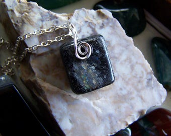 Ancient Greenland Nuummite Natural Polished Stone Pendant
