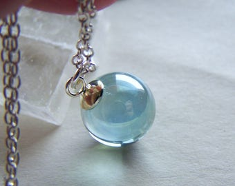 Aqua Aura Quartz Crystal Ball Pendant Necklace