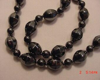 Vintage Hematite Black Diamond Bead Necklace   17 - 38