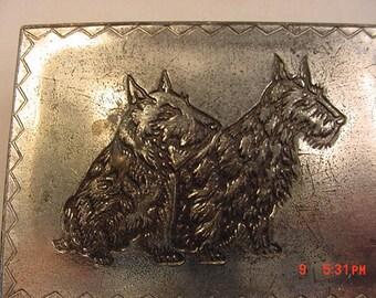 Vintage Scottish Terrier Dog Metal & Wood Trinket Box  17 - 455