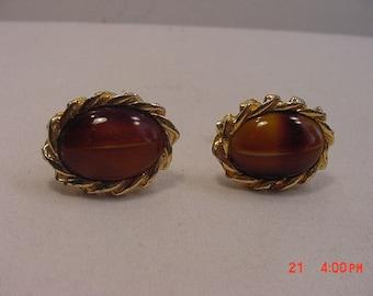 Vintage Glass Tiger Eye Cuff Link Set  17 - 522