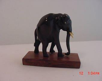 Vintage Wood Carved Elephant Figurine On Base  17 - 590
