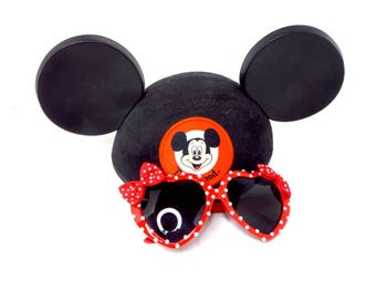 Minnie- Red Pearl Polka Dot Minnie Mouse Inspired Heart Shaped Sunglasses