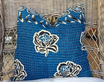 Decorative Navy and Beige pillow created using a  Vintage Kantha Quilt