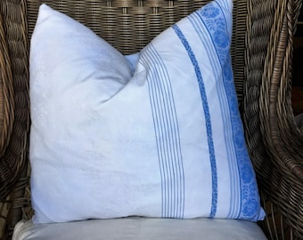 Wonderful Blue and White Pillow created from Vintage French Linen