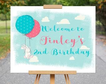 Balloon Welcome Birthday Sign |Bunny Rabbit Sign | 2nd Birthday Sign | Pink, Blue, Birthday Party Decor  1570