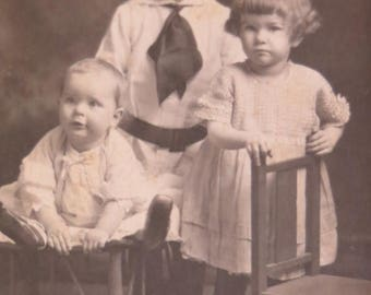 Store Closing SALE Antique Vintage Cabinet Post Card-3 Siblings-1910-Tiger Rug on Floor