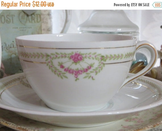 ON SALE Vintage Weimar Tea Cup and Saucer-Mint Condition-Pink Roses-Gold Gilt-Germany