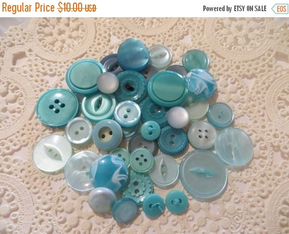 ON SALE Vintage MInty Aqua Buttons-Lot-Craft-Sewing