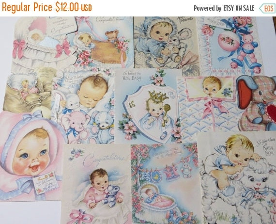 ON SALE Vintage Greeting Cards Lot-Ephemera-Mixed Media-Paper-Crafts-Scrap Booking-Baby-Childrens-Set of 13