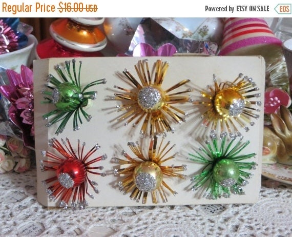 ON SALE Vintage Christmas Mercury Glass Pom Pom Package Ties-Picks-Corsage-NOS-Glass-Tinsel-Foil-Old Stock-Original Package