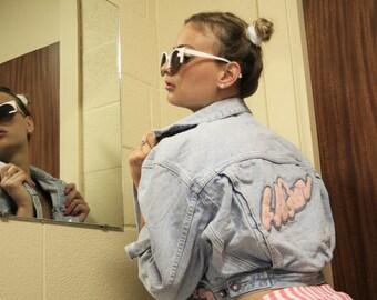 Vintage 80s LA Gear Pink Cropped Light Wash Denim Jean Jacket  -  1980s Vintage Crop Jacket  -  Vintage  Jean Jackets  - WO0715