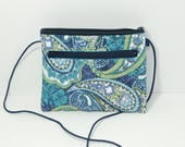 Jessica  wallet  purse in  turquoise and blue paisley floral