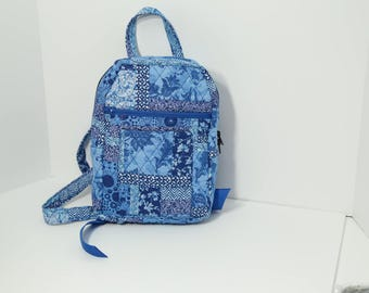 "Quilted Backpack 10"" x 7"" x 4"" (small) purse in Bright Blue Mosaic"