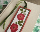 Custom Order for Three (3) Pressed Flower Bookmarks Red Rose and Rose Leaves Laminated