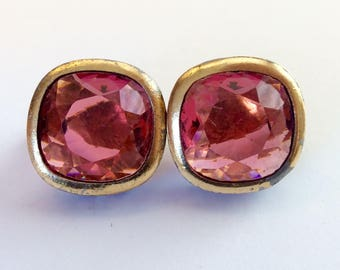 ON SALE - Rare Vintage Yves Saint Laurent Pink Crystal Clip Earrings -Cushion Cut Stones In Gold