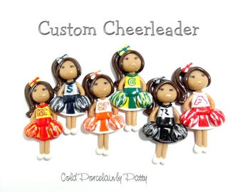 Custom Cheerleader Ornament, Pendant, Bow Center, Purse Charm, Magnet, Brooch, Cold Porcelain Clay Cheerleader Figurine, Gift /DIY Necklace