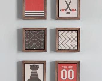 Chicago Blackhawks Hockey Sports Wood Art Wood Block Wall Art