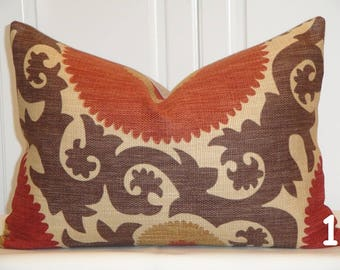 Decorative Pillow Cover - 14 x 20 Suzani - Brown - Dark Red - Rust - Fahri in Clove - Accent Pillow - Lumbar Pillow - Chair Pillow