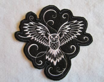 Embroidered Iron On Owl, Owl Applique, Owl Patch, Iron On Applique, Iron On Patch, Owl