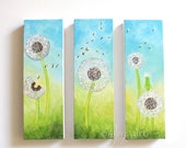 SALE 3 Dandelion Seed Heads, whimsical art for home and office, Set of 3, 4x12 acrylic canvases