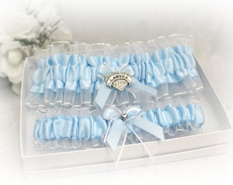 Personalized Wedding Garter - Bridal Garter Set - Something Blue - Choice of Charm and Color - Bridal Shower Gift - Lawyer's Wife Garter.