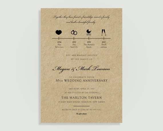 Wedding anniversary invitation timeline rustic kraft paper il570xn stopboris Image collections