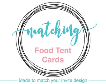 Food tent cards or Place cards, Printable, baby shower decor, bridal shower decorations, wedding party decor