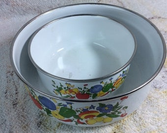 10% OFF SALE Pair of Vintage Enamel Pots Kitchen Kitsch Fruits and Veggies