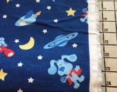 "Light Weight Woven Cotton Flannel Blues Clues Navy Fabric 1 5/8 Yards X 44"" Wide #4095"