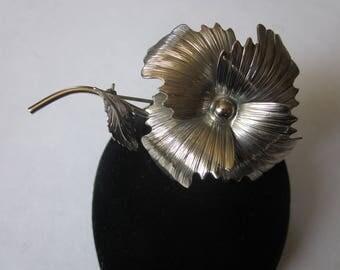 Vintage Silver Tone Flower Brooch