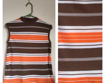 Vintage 1970's brown and orange striped turtle neck mod retro sleeveless top Medium M
