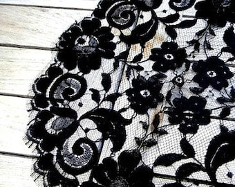 Vintage French 1950s Black Silk Cotton Lace Doily Chantilly Lace Black Lace Made in France Stylist Prop Seamstress Sewing
