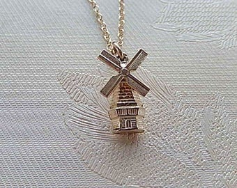 Windmill Necklace, Vintage Necklace, Small Necklace, Sterling, Gift for Her
