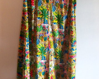 Maxi Dress 1960s Vintage Hawaiian Polynesian Village Scene Multicolored
