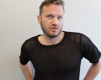 Vintage Black Jersey style shirt Sheer See Through Shirt Sunflair by Jutta Friemann
