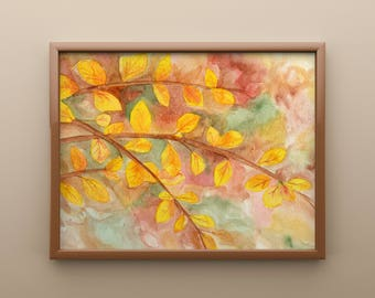 Autumn Leaves Print from Original Watercolor