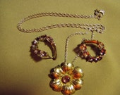 Vintage Sterling Silver Amethyst Flower Pendant Necklace & Pierced Earrings Mexico 8822