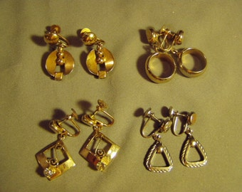 Vintage Lot 4 Pairs Screw Back Earrings Signed Alice Drop Dangle Style 9102