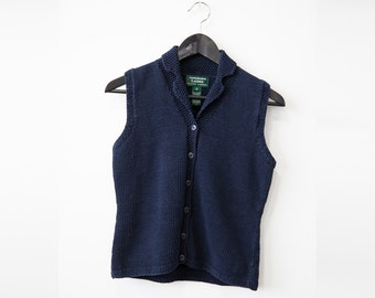 SALE 50% OFF 90s Ralph Lauren Navy Blue Knitted Waistcoat Cotton Vest S