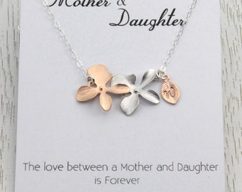 Mother's Necklace, Personalized Mother and Daughter Flower Necklace, Birthday Gift, Wedding Jewelry, Rose Gold Necklace, Summer Jewelry