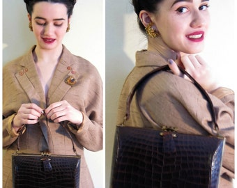 Vintage 1950s Alligator Handbag Kelly Style / 50s Brown Leather Purse by Deitsch for Saks Fifth Ave