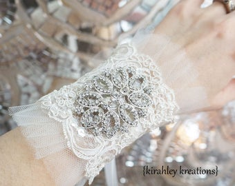 Vintage Pearl Beaded Embroidered Lace Tulle Rhinestone Brooch Wedding Bridal Bride Wristlet Bracelet Corsage Light Ivory Off White Ribbons