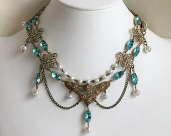 Aquamarine and Antique Brass Victorian or Renaissance Style Festoon Necklace