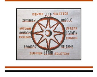 PDF E pattern emailed Wiccan Wicca Witch Wheel of the Year Sabbots, Equinoxes, Solstices  Wicca Cross Stitch Pattern Sampler 174