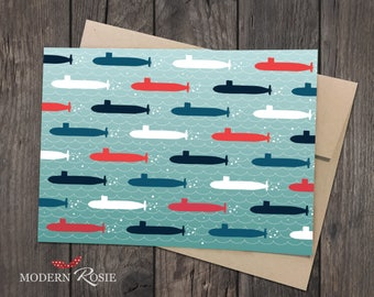 Submarine Parade Blank Cards- Set of 10 folded greeting cards and envelopes