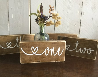 Rustic Wedding Table Numbers  - Wedding Decor Package - Rustic Table Numbers -Wedding Table Sign - Wedding Reception Signs  - Summer Table