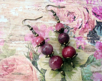 Pink Agate Earrings (3339)