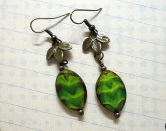 Green and Brass Leaf Earrings (3409)